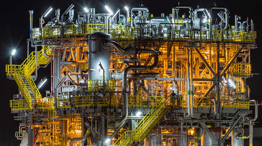 Oil Refinery and Petrochemical Plant at Night