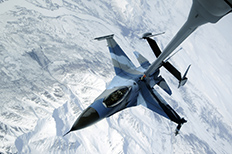 Jet refueling in mid-air over Alaska.